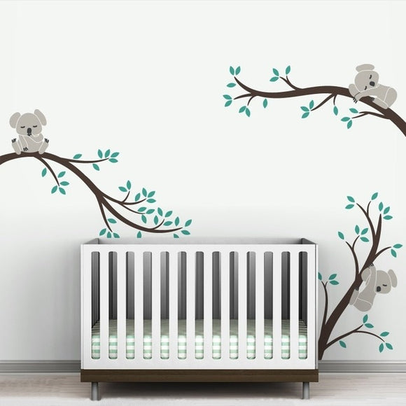 Baby Koala on Branches Wall Sticker Decal Set