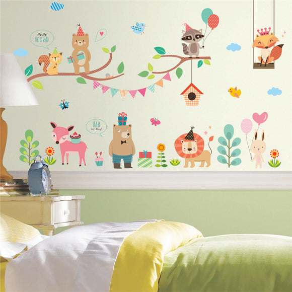 Cute and Colourful Jungle Animal Party Wall Decal Set for Children
