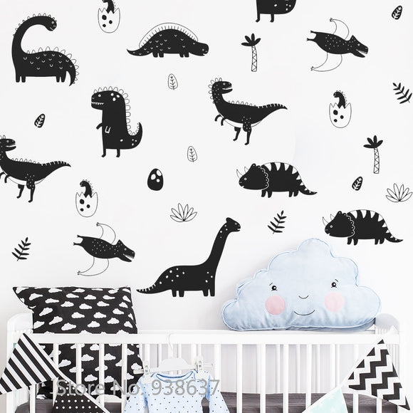 Assorted Silhouette Dinosaur Wall Decal Sticker Set