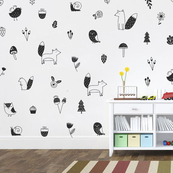 Assorted Woodland Forest Animal Wall Decal Sticker Set