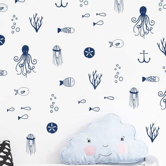 Assorted Ocean and Sea life Wall Decal Sticker Set