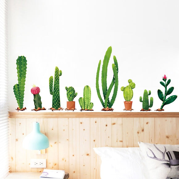 Variety Cactus Plant Wall Decal Sticker Set