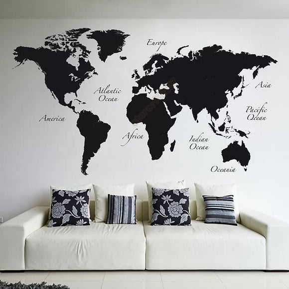 Large World Map Wall Decal Sticker