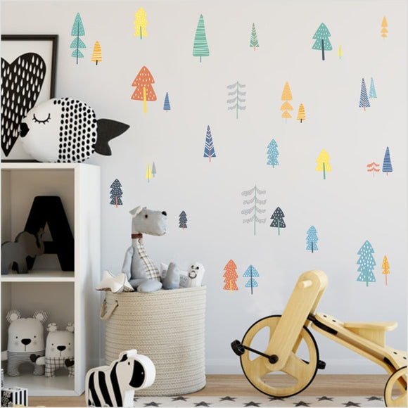 Colourful Forest Trees Decal Sticker Set