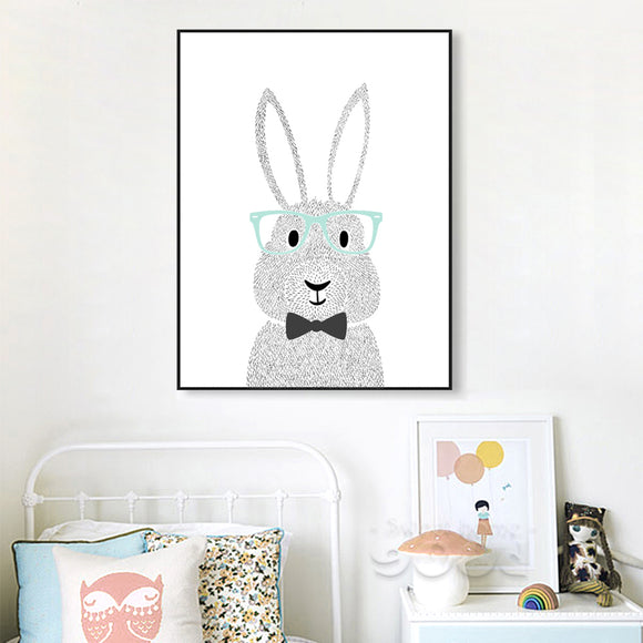 Cartoon Rabbit with Glasses Canvas Print