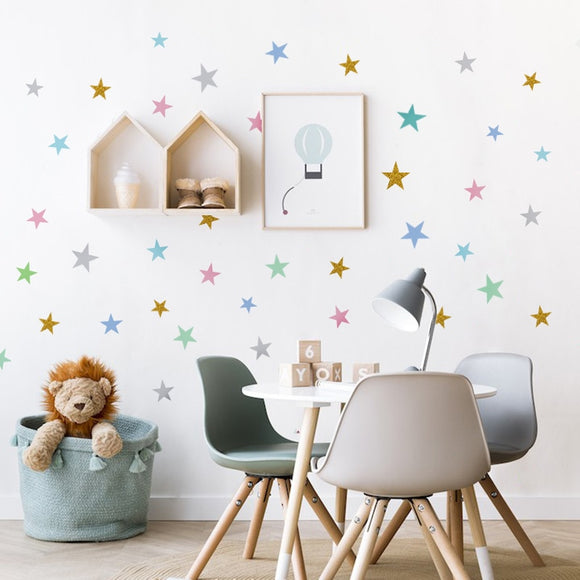 Star Pattern Wall Decal Sticker Set for Nursery or Bedroom