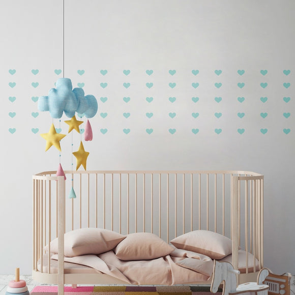 Mini Coloured Hearts Wall Decal Sticker Set