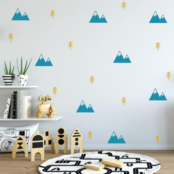 Minimalist Mountains and Tree Wall Decal Sticker Set