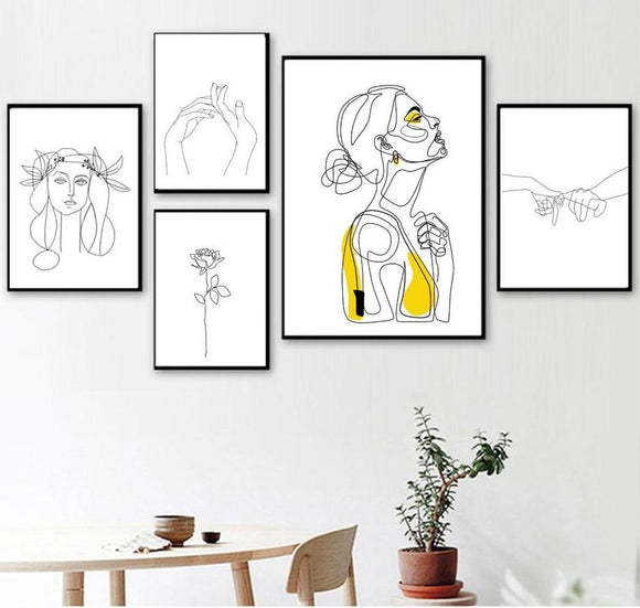 Abstract Women Line Drawing Canvas Print