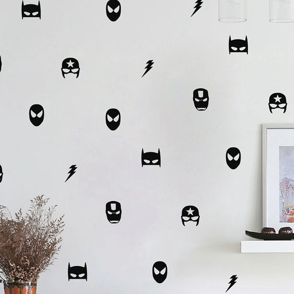 Superhero Mask Wall Decal Sticker Set