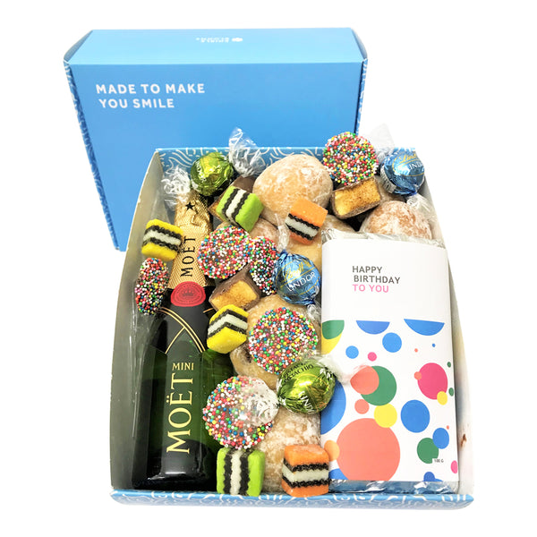 Luxury Happy Birthday Donut and Moet Gift Box