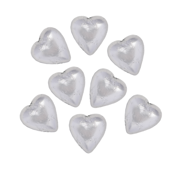 8 Silver Belgian Chocolate Hearts (Extra)