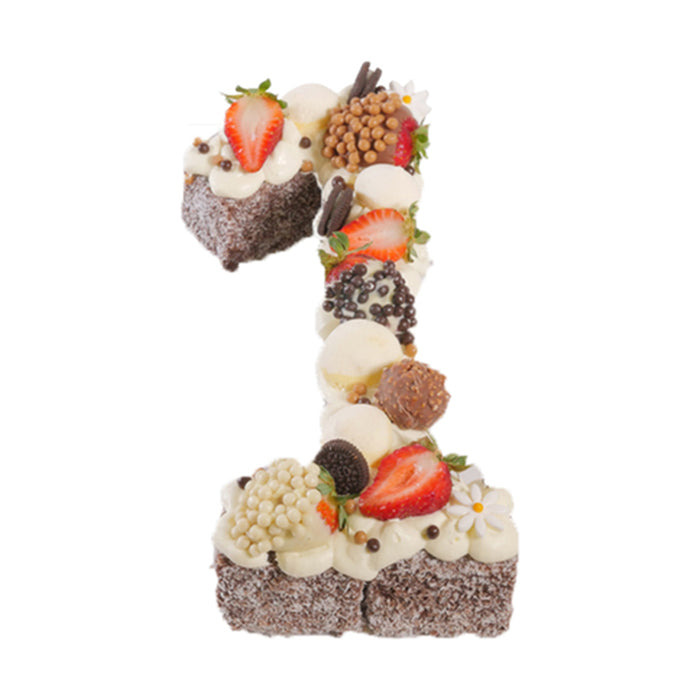 Number One Chocolate Lamington Birthday Cake