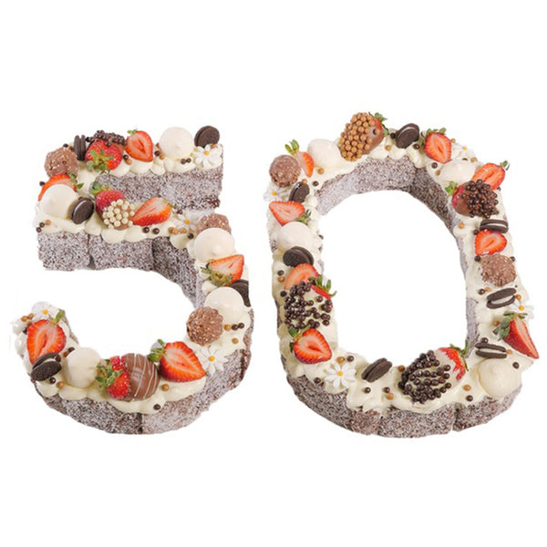 Number Fifty Chocolate Lamington Birthday Cake