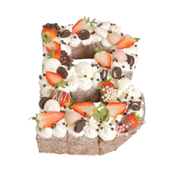 Letter 'B' Chocolate Lamington Birthday Cake