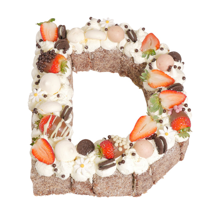 Letter 'D' Chocolate Lamington Birthday Cake
