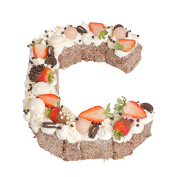 letter c chocolate lamington birthday cake