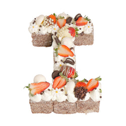Letter 'I' Chocolate Lamington Birthday Cake