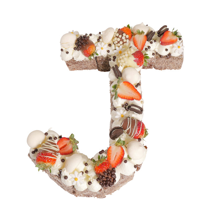Letter 'J' Chocolate Lamington Birthday Cake