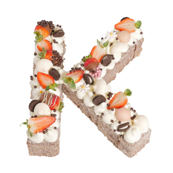 Letter 'K' Chocolate Lamington Birthday Cake