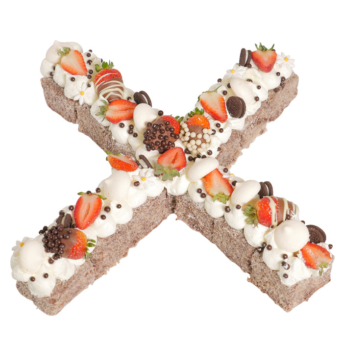 Letter 'X' Chocolate Lamington Celebration Cake
