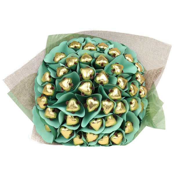 Golden Hearts Flower Bouquet