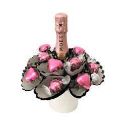 Pink Mini Moet Chocolate Bouquet