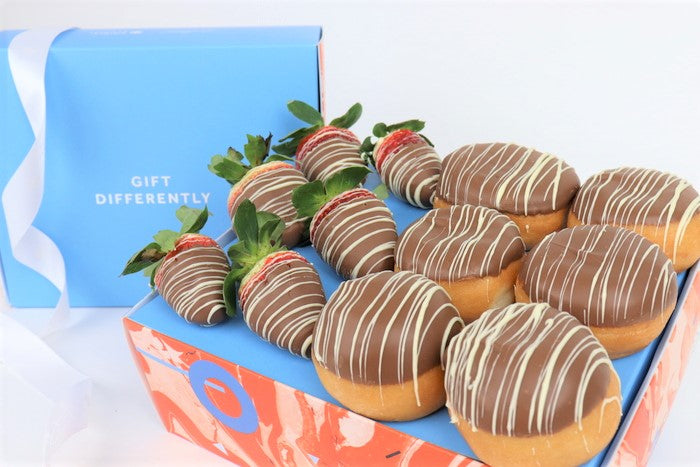 Swirl Box of Donuts and Strawberries