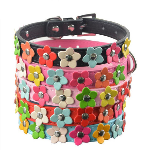 Dog Leather Flower Collar - Pet Shop Thailand