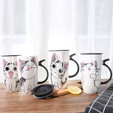 600ml Cute Cat Ceramics Coffee Mug With Lid Large Capacity Animal Mugs creative Drinkware Coffee Tea Cups Novelty Gifts milk cup - Pet Shop Thailand