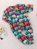 Long Sleeve Colorful Elephant Romper