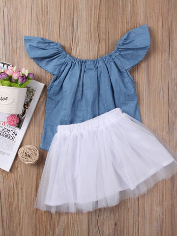 2 Piece Jean Shirt and Tutu