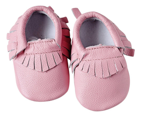 Pink Genuine Leather Moccasins