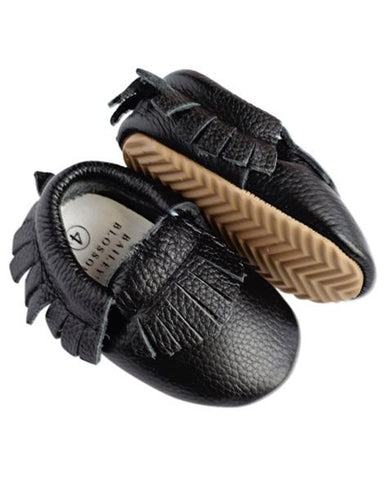 Black Genuine Leather Moccasins