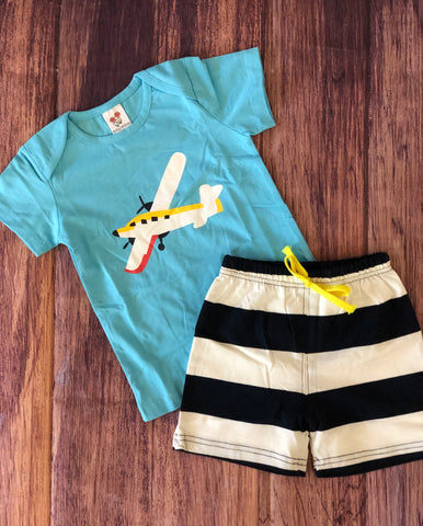 Airplane Shirt with Striped Shorts