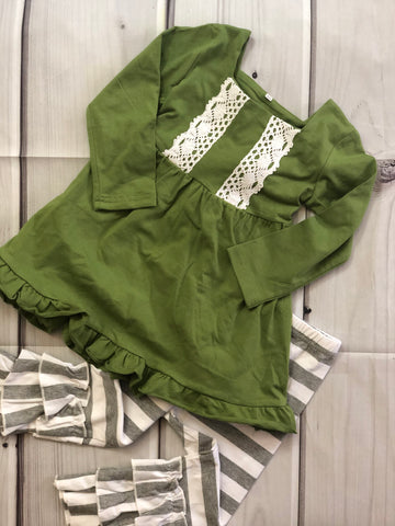 Green Tunic with White/Grey Pants