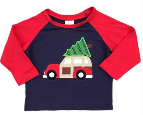 Christmas Tree Truck Raglan Top