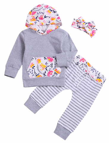 3- Piece Floral Hoodie with Striped Pants