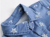 Star Denim Button Down Romper