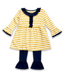 Yellow Striped Shirt- Navy Pants