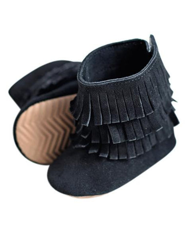 Black- Genuine Suede Fringe Boots