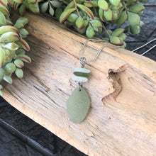 Load image into Gallery viewer, Sage Green and White Stacked Genuine Sea Glass Necklace