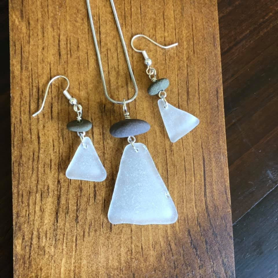Genuine White Sea glass and Beach Stone Necklace and Earring Set