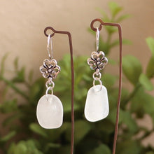 Load image into Gallery viewer, White Genuine Sea Glass floral earrings