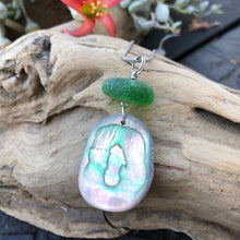 Load image into Gallery viewer, Gorgeous Abalone and Green Seaglass necklace