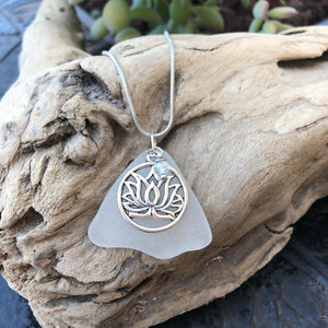 Beautiful white Sea Glass Pendant with lotus charm and crystal bead