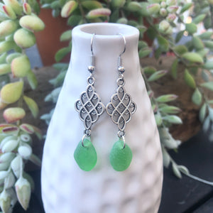Long Dangle Green Genuine Sea Glass Earrings
