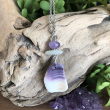 Load image into Gallery viewer, Gorgeous Wampum Pendant with Amethyst and Sea Glass