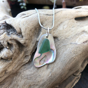 Gorgeous Abalone and Teal Seaglass necklace