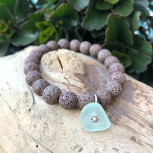 Brown Lava Bead Bracelet with Genuine Sea Glass